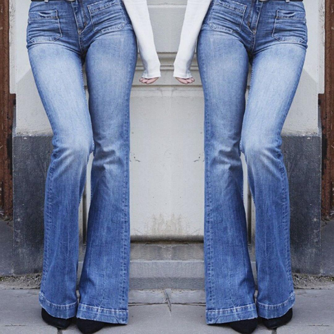 Femmes taille haute Jeans Pantalon évasé Dames de la mode Denim Fit Pocket Long Pants Pantalon Printemps Automne