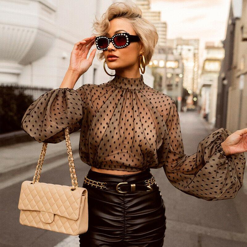 New Women Voir par Sheer Mesh Vintage T-shirt recadrée transparent Dot élégant Col haut à manches bouffantes Lady Tops Chemisier