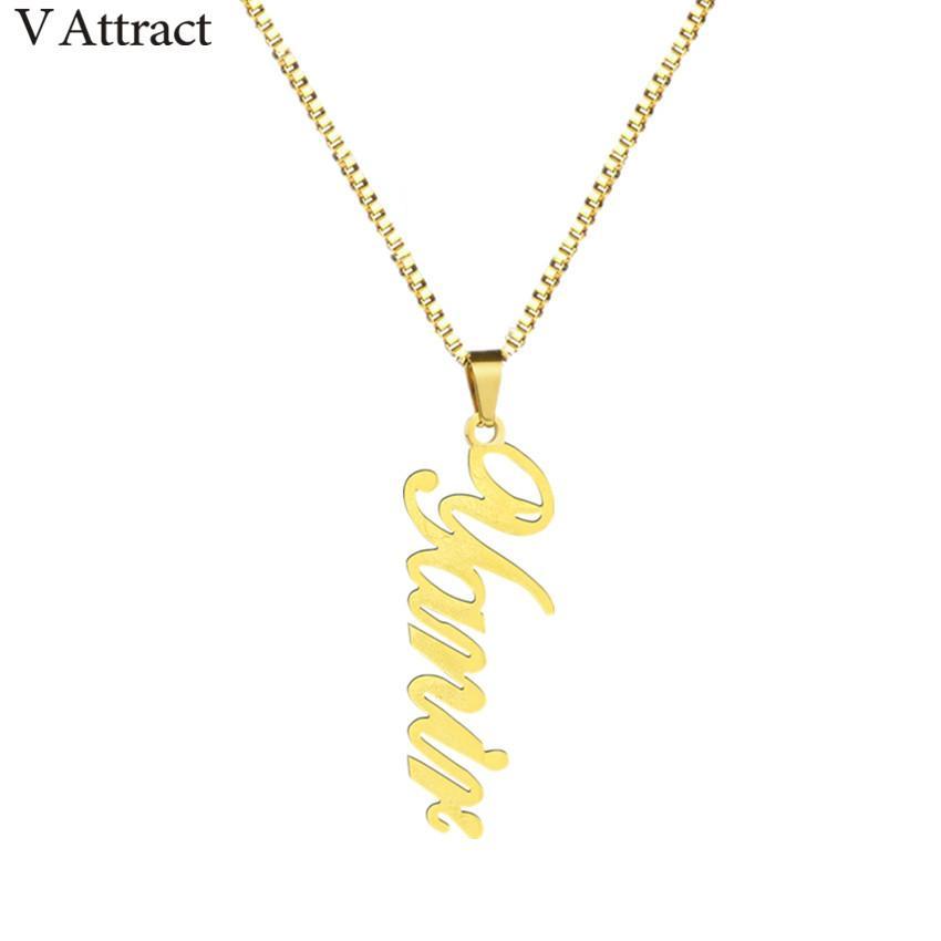 c23735663096 Compre Cadena De Caja Nombre Vertical Charm Necklace Mujeres Hombres  Joyería Personalizada Gold Filled Personalizada Placa De Identificación  Colgante Collar ...