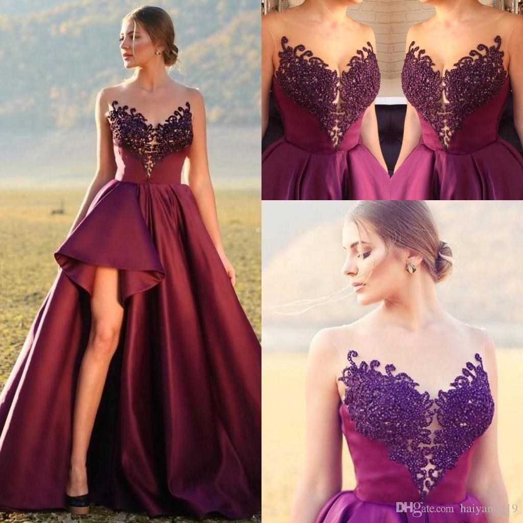 b80134b63a388 New Sexy Prom Dresses Jewel Neck Illusion Crystal Beading Burgundy Satin  Open Back Long Side Split Formal Party Dress Evening Gowns Cheap Long Prom  Dresses ...