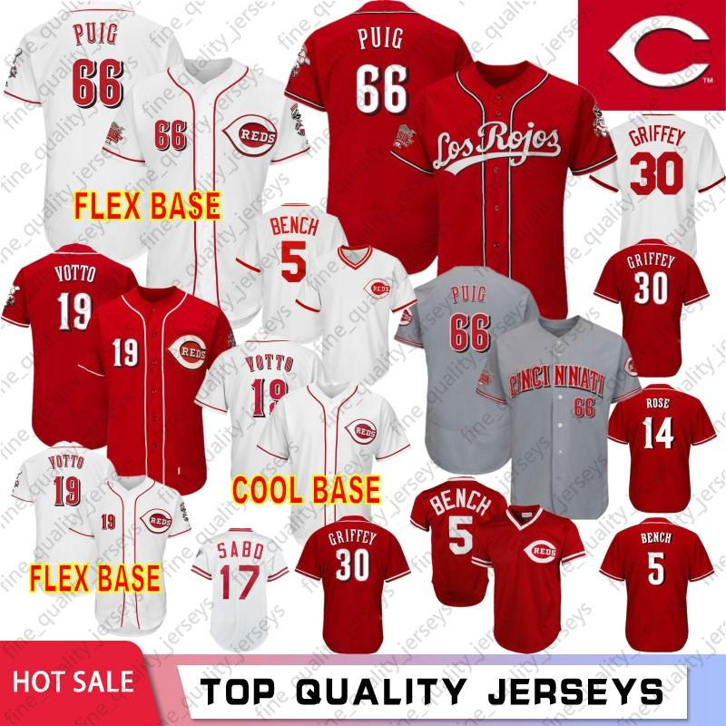 37ed59be2a 2019 66 Yasiel Puig 5 Johnny Bench Cincinnati Baseball Jerseys Reds ...