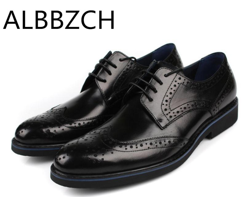 f474dcb2a636 New Brogue Genuine Leather Dress Shoes Men Wedding Shoes Mens Oxford High  Grade Business Office Work Men Blakc Red Brown Stacy Adams Shoes Purple  Shoes From ...