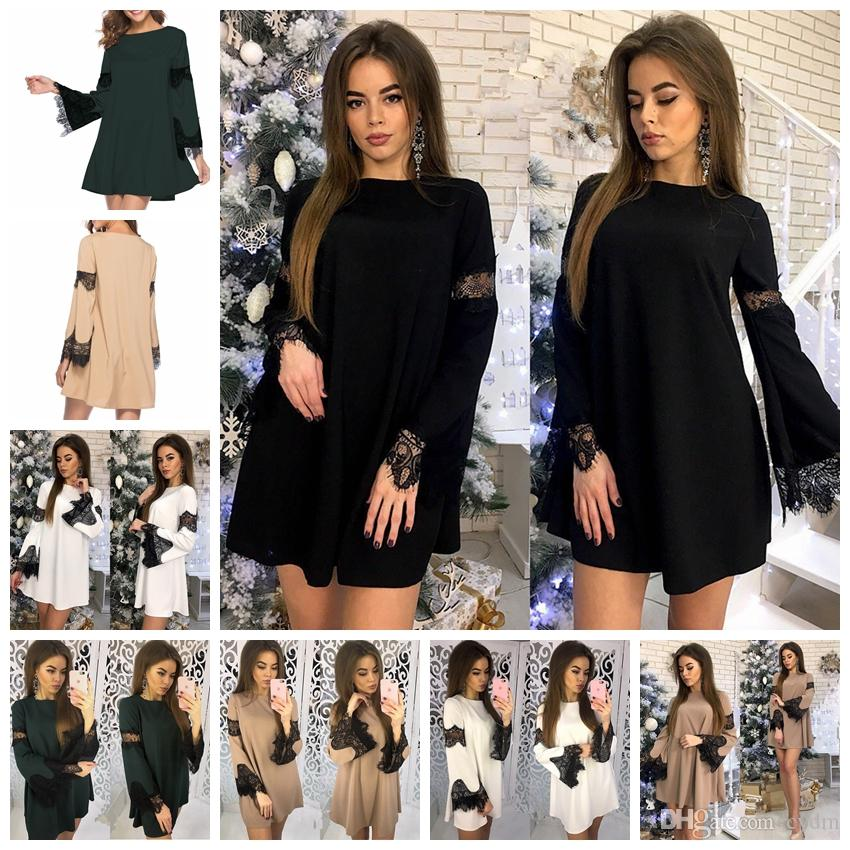 a245ae6d4542f 2019 European Trendy Fashion Solid Color Turtleneck Round Neck Long Sleeve  Lace Loose Dress White