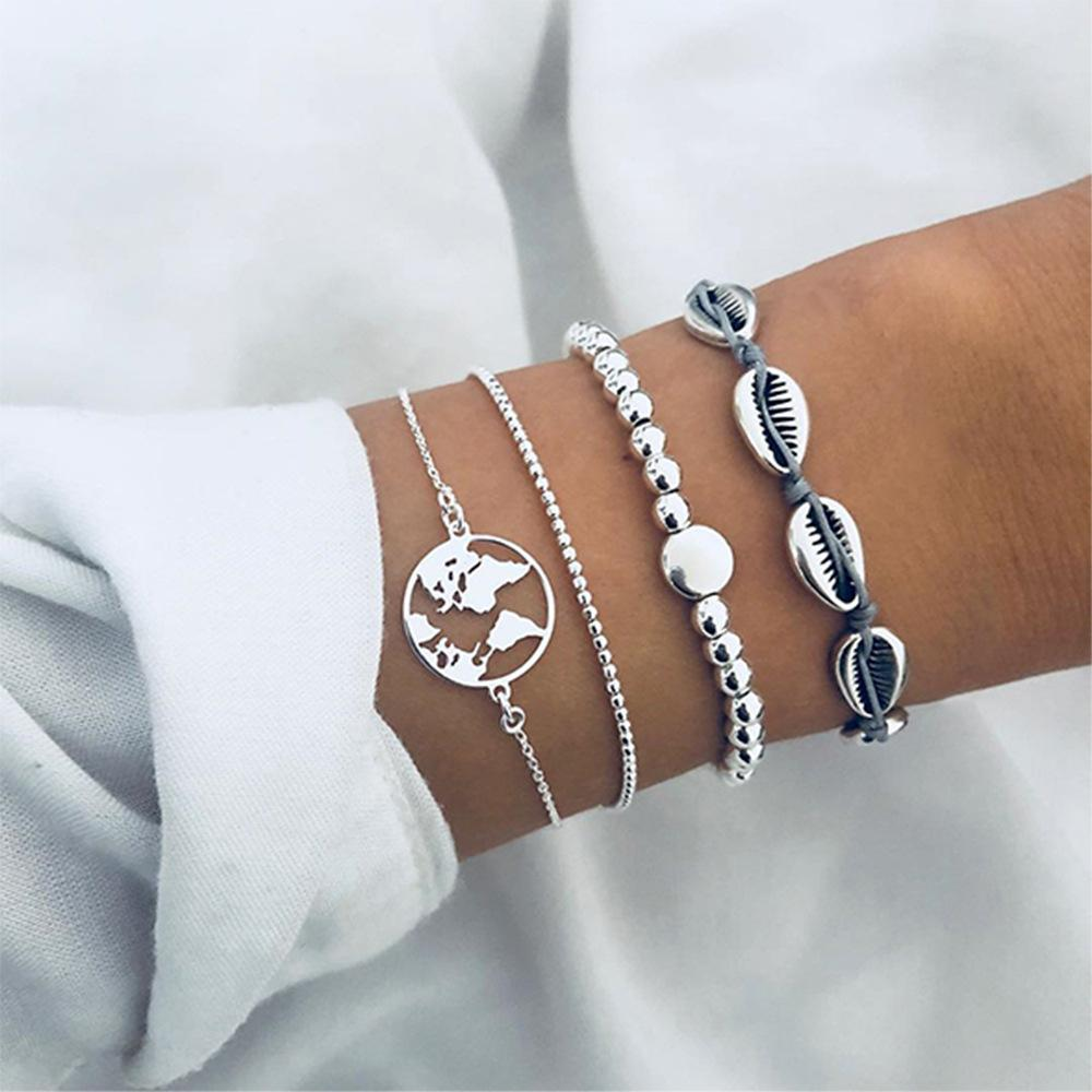 2019 Ancient Silver Shell Map Beaded Brazalete de cuatro piezas Set Europa Estados Unidos Nuevo estilo Fashion Hot Couple Bracelet Jewelry Holiday Gift