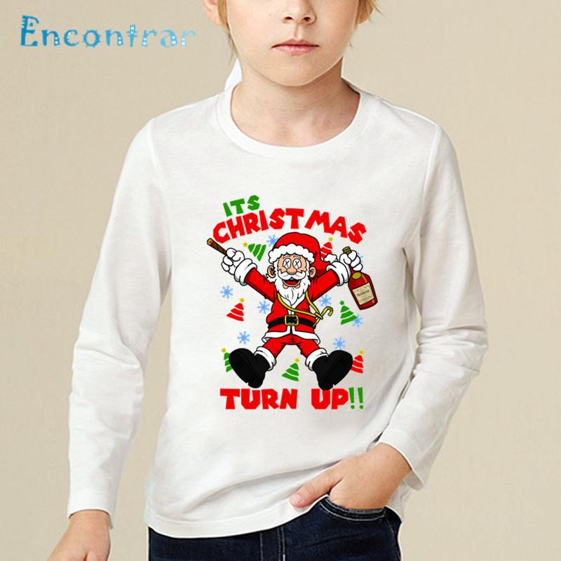 fca91f5c4 2019 Children Cartoon Print Santa And Friends Merry Christmas T Shirts Kids  Long Sleeve Tops Boys/Girls Baby Funny T Shirt,LKP5027 From Westbit17, ...