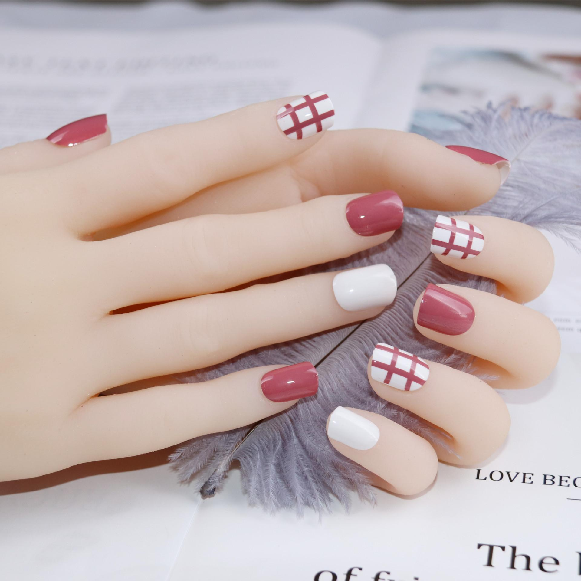 Nail Art 2019: Acquista 2019 Nail Art Finished Short Net Wear Rosso