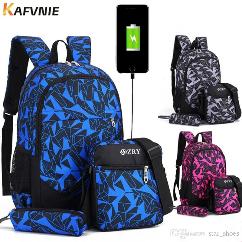 71fb1358da 2018 New USB Male Girl Backpack Bag Set Red And Blue High School Bag For  Boys One Shoulder Big Men School Student Book Bags  89362 Leather Bags  Laptop Bags ...