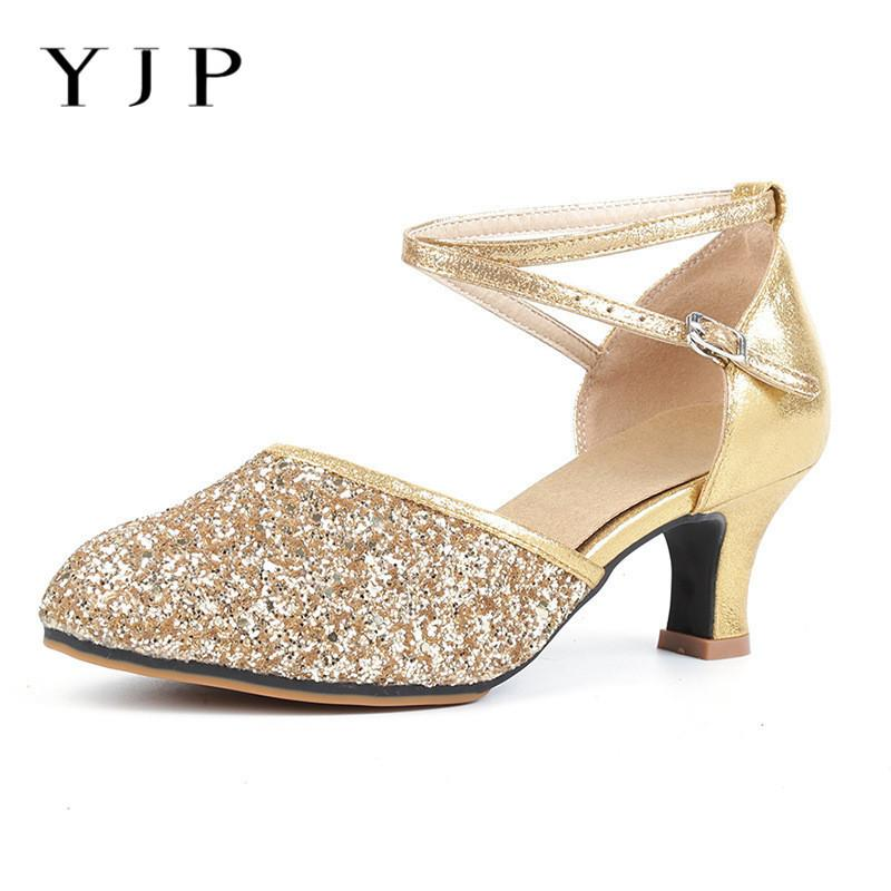 bf5455daa4d7 Yjp Children Adult Sparkly Latin Dancing Shoes Woman Party Ballroom Ladies Shoes  Women Pumps 5.5cm High Heels Size Eur35 42 New Navy Shoes Driving Shoes ...