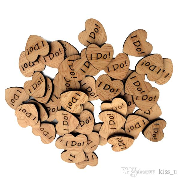 50pcs/pack wood color wood I DO! Mr & Mrs Heart-shaped DIY wedding supplies wedding decoration shooting props