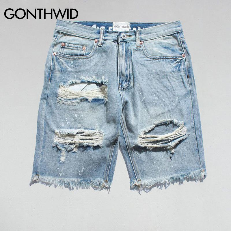 e8651a4afd 2019 Gonthwid Ripped Destroyed Distressed Denim Shorts 2017 Mens Hole Denim  Shorts Blue Male Hip Hop Fashion Casual Dot Jeans Short J190422 From  Babala3, ...