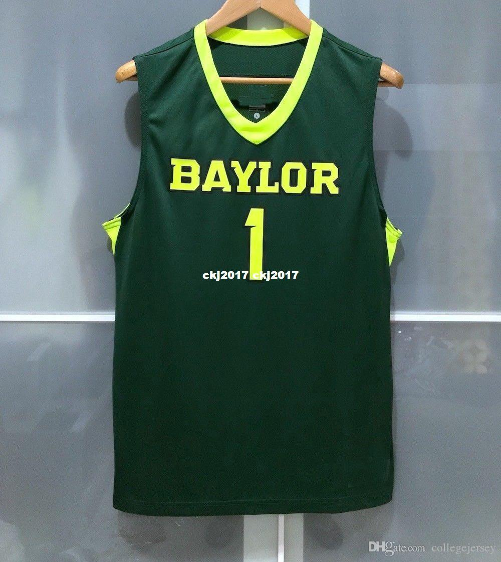 first rate 85e39 a25f0 Cheap wholesale BAYLOR BEARS #1 MENS BASKETBALL GAME JERSEY GREEN NEON  T-shirt vest Stitched Basketball jerseys Ncaa