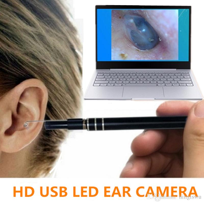 2in1 USB Earpick Mini Camera Endoscope Nose Ear Cleaning Tool HD Visual Ear Spoon & Smart Swab Easy Earwax Removal Soft Spiral Ear Cleaner