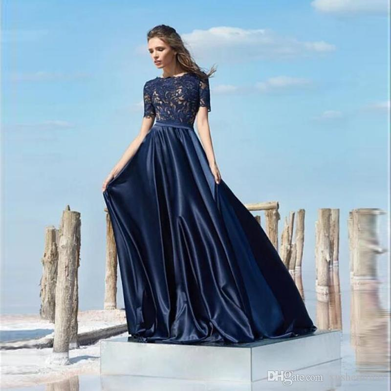 722dbd42d21 Elegant Navy Blue Lace Short Sleeves A Line Evening Dress Women Prom Maxi  Gowns High Quality Pleated Party Event Wear Gown Vestidos Soiree Fishtail  Evening ...