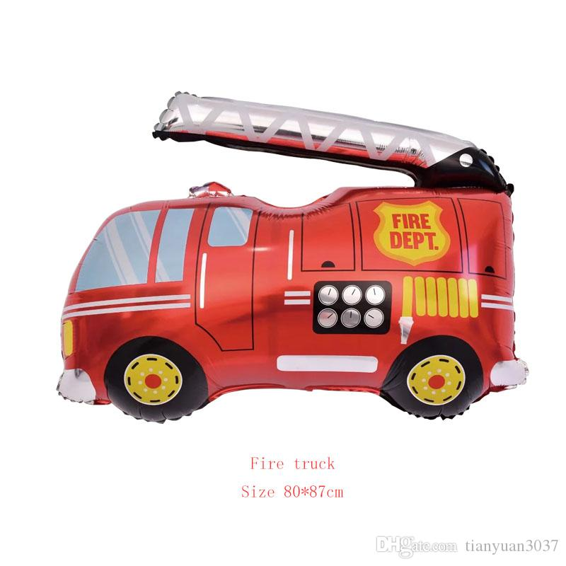 2019 DIY Cartoon Car Balloons Fire Truck Train Foil Balloon Ambulance Globos Children Gifts Birthday Party Decorations Kids Balls TY2420 From