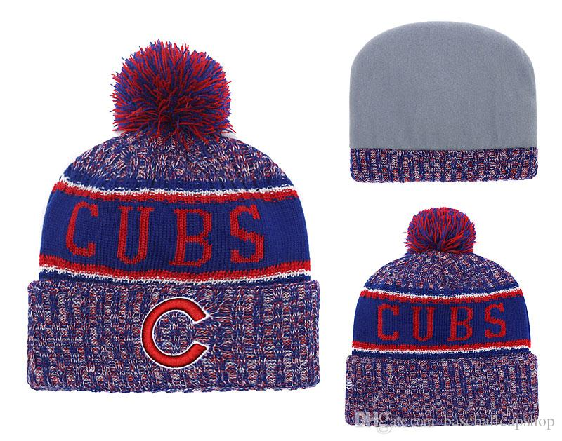 One Piece Cheap Chicago Baseball Beanies Team Logo Embroidered Cubs Cuffed Knit  Hat Sport Skull Men Women Winter Caps Newborn Hats Knit Beanie From ... a35486ff98d