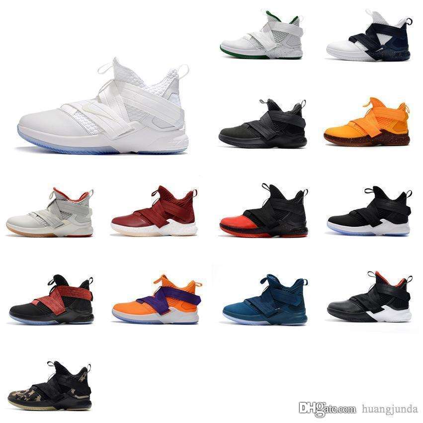 on sale ce7b2 f1c19 Cheap Mens lebron soldier 12 shoes Yellow Purple Team Red Blue Black White  Grey youth kids boys sneakers with box