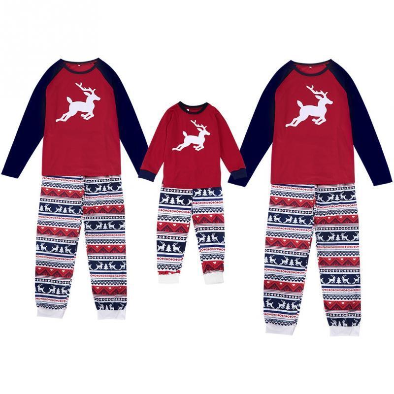 fa86a0476f 2019 Christmas Family Matching Pajamas Set Women Men Kid Baby Red Print  Sleepwear Nightwear Parent Child New Year S Pyjamas Set From Roberte