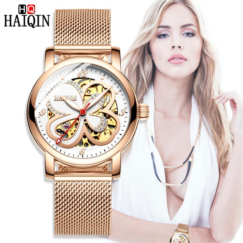 Haiqin Ladies Dress Watches Orologi da donna Top Brand Luxury Sport Orologio da polso Orologio meccanico Moda in pelle Relogio Feminino MX190713