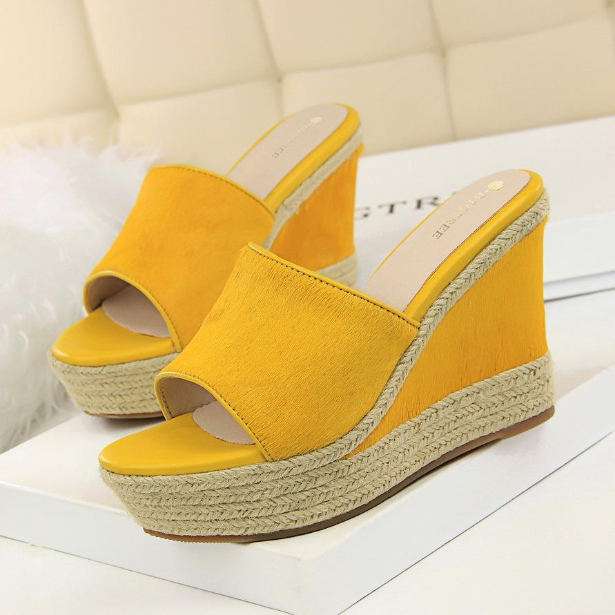038ec834228 Women Ruffles Mules Shoes Suede Leather High Heels Wedge Thick Sole Slippers  Shoes Ladies Slides Women Flip Flops Summer 3937 Buy Shoes Online Wedge  Boots ...