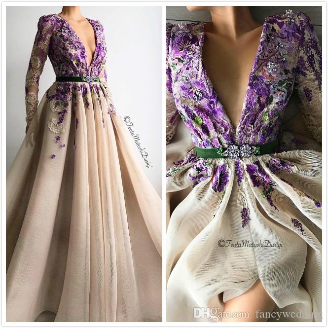 Lace Sexy 2019 African Evening Dresses Deep V-neck Long Sleeves High Split Prom Dresses Vintage Cheap Formal Party Bridesmaid Pageant Gowns