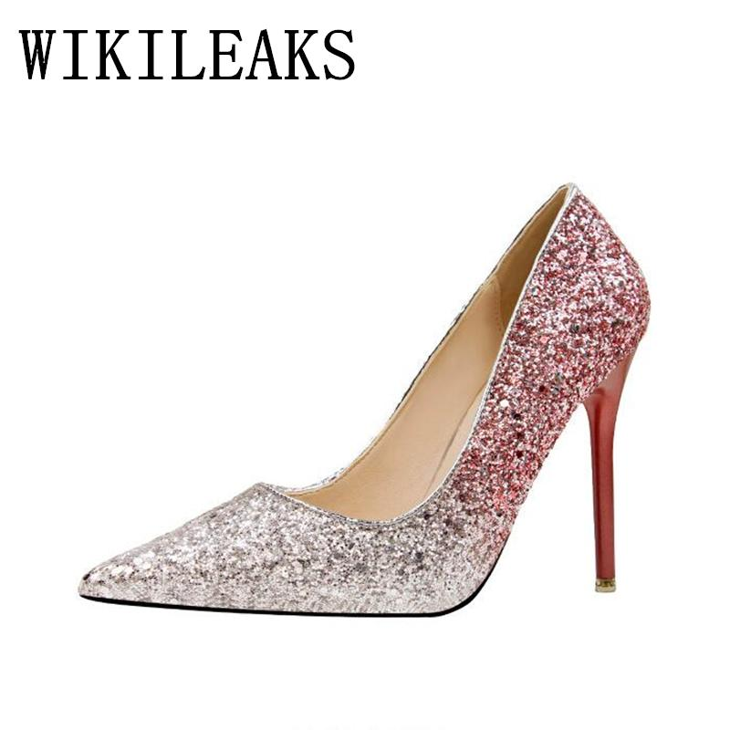 ea60129277c8 Dress Luxury Brand Women's Sexy Gradient Color Nightclub High Heels Women  Pumps Stiletto Thin Heel Pointed Toe Sequined Wedding Shoes