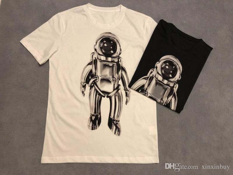 19ss Mens Designer Tshirts Luxury Astronaut Vl Letter Print Clothes Jumper Long Sleeve Women Shirts Top Quality Tag New