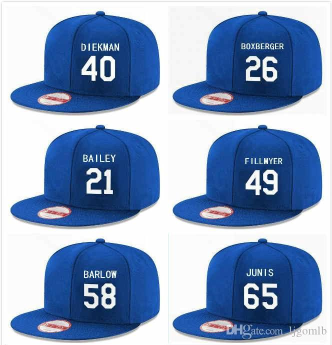 78c00dc5 Custom Kc Snapback Hats for Men Baseball Blue Jakob Junis 65 Homer Bailey  21 Scott Barlow 58 Brad Boxberger 26 Jake Diekman 40 Fillmyer 49