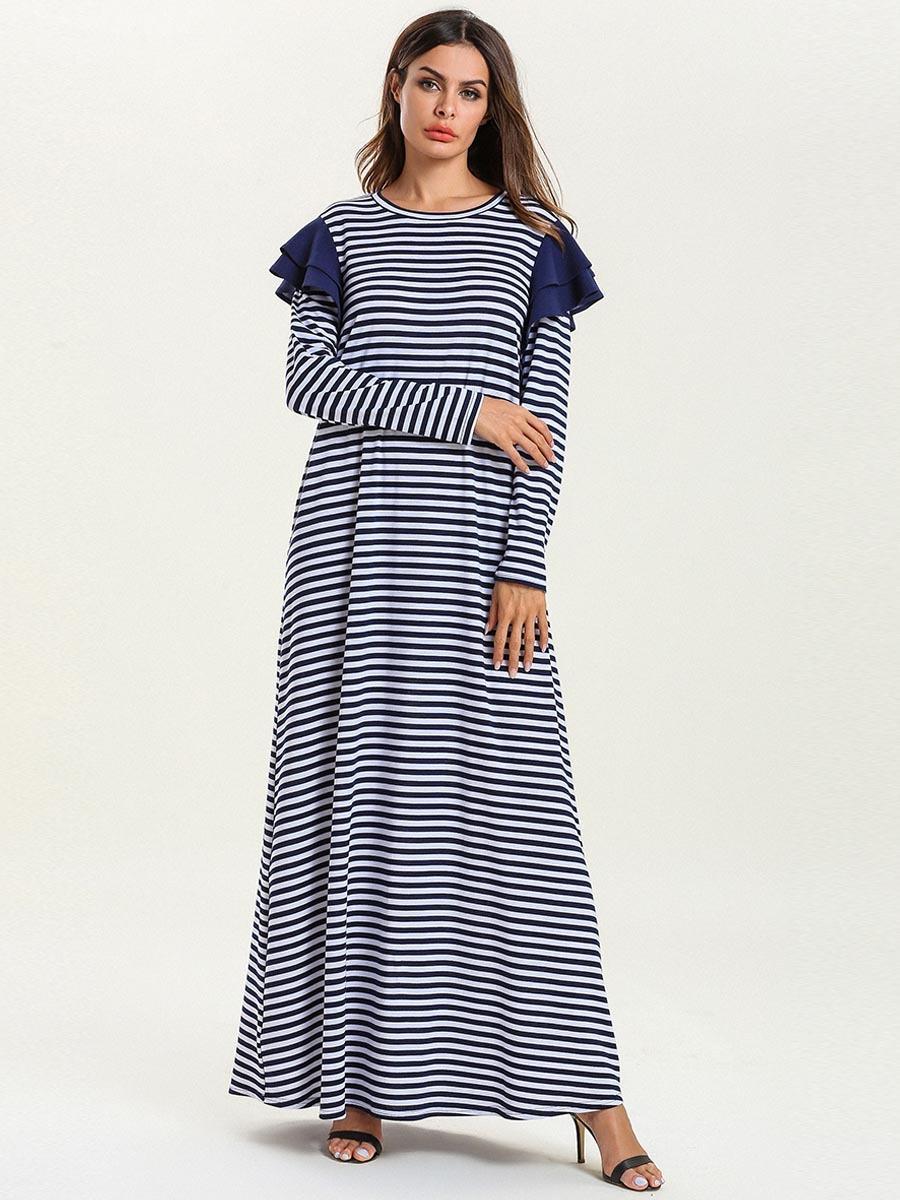 0f91c7ea06d 2019 7596 Striped Muslim Dress Women Abaya Dubai Turkey Kaftan Turkish Ramadan  Islamic Clothing Bangladesh Long Plus Size Casual Robe From  Donnatang240965