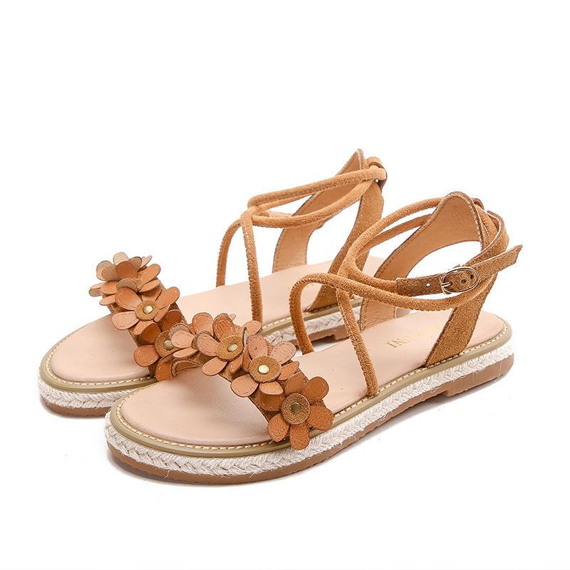 6c285b42703 New Summer Women Sandals Genuine Leather Cross Strappy Flat Beach Gladiator  Casual Open Toe Flowers Big Size Roman Ladies Shoes White Mountain Shoes  Scholl ...