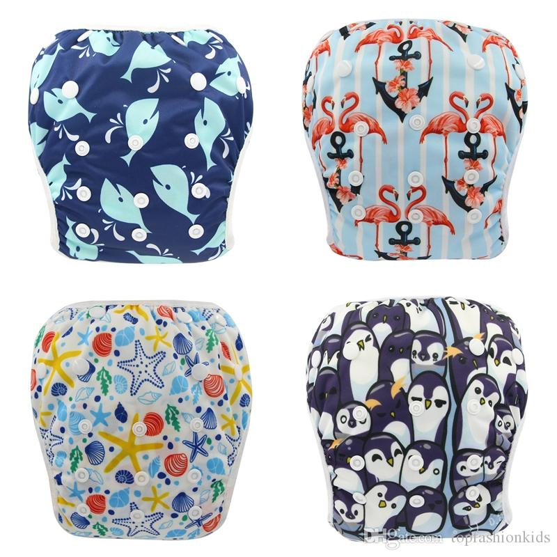 Baby Swim Diapers Unicorn Animals Print Cloth Diapers for Baby Swimsuit Adjustable and Reusable Cloth Diaper Cover