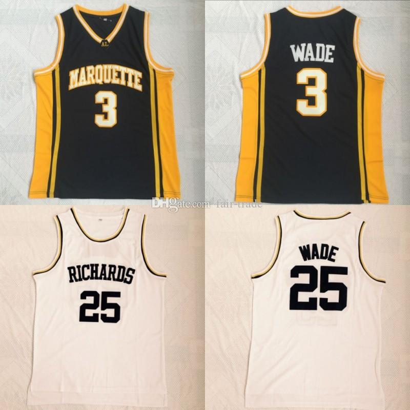 f77fd8e21 2019 Mens Marquette Golden Eagles  3 Dwyane Wade College Basketball Jerseys   25 Dwyane Wade Richards High School Stitched Jersey From Fair Trade