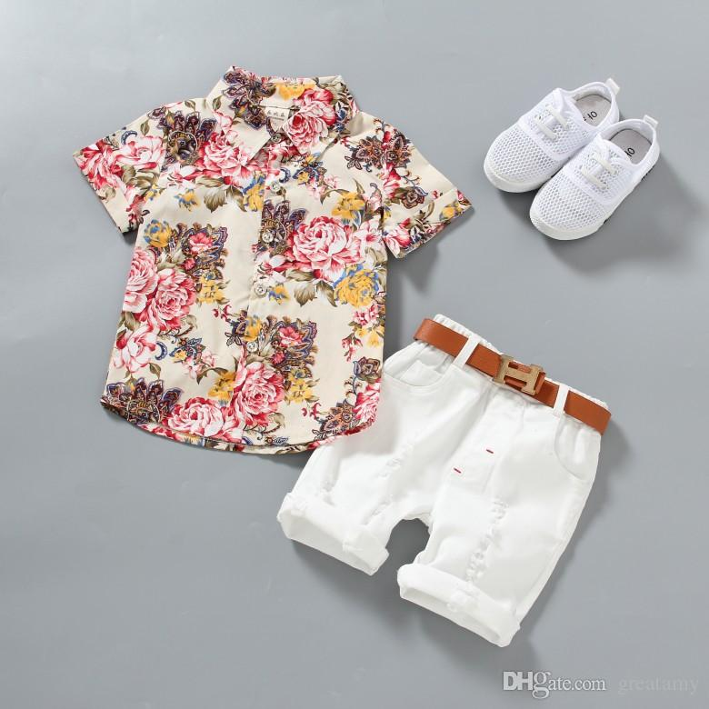 3f8157668e1 1-5 Years Baby Boy clothes Boys Floral Shirts with Cotton Short pants Kids  Fashion Gentleman Summer Outfits Casual Sets Clothing 2pcs/lot