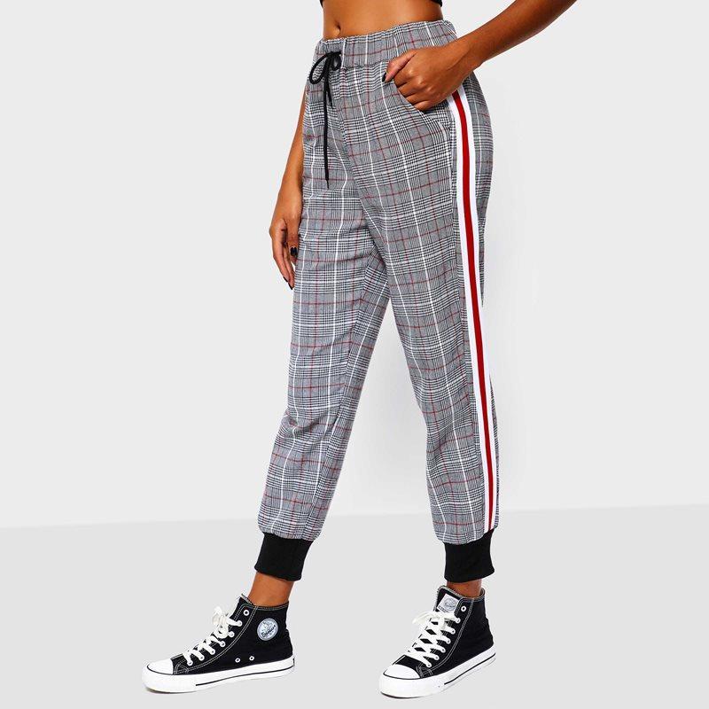 Fashion Plaid Sweatpants Women Spring Red Stripe Side Loose Hip Hop ... f95b0eab7e4d