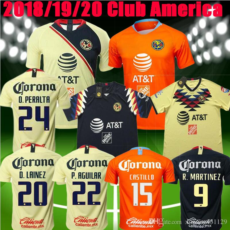 da672090ec2 2019 2019 2020 Club De Futbol America Soccer Jersey 18 19 O.PERALTA  C.DOMINGUEZ Soccer Shirt 19 20 Mexico P.AGUILAR Football Uniform From  Xinying131129, ...