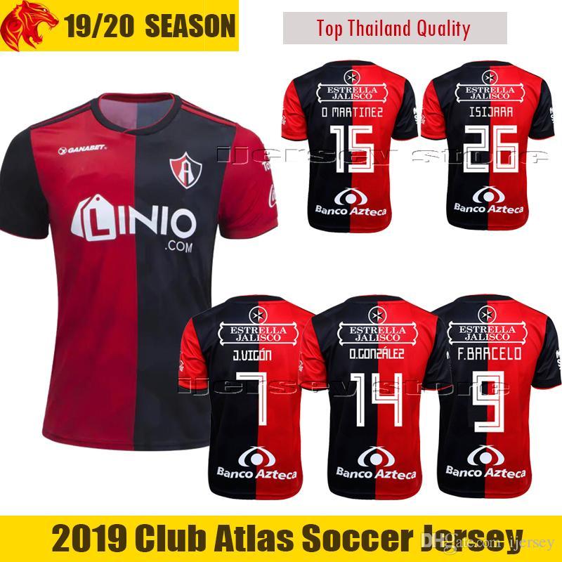 5e41fcaacf6 2019 O.GONZALEZ Atlas O.MARTINEZ Football Jersey F.BARCELO 2019 LIGA MX  Atlas Soccer Jersey PIPE J.VIGON Jersey ISIJARA Football Shirt From  Ijersey, ...