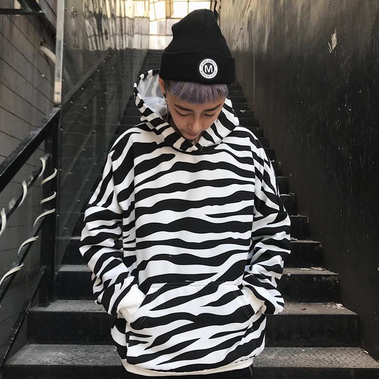 d1aafa6cd01c 2019 Nueva Primavera Otoño Invierno Gagarich Sudadera Con Capucha Coreana  Mujeres Ins Abrigo Zebra Top Rayado Chaqueta de manga larga Ropa de Mujer