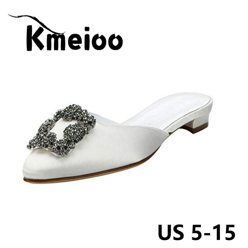 15555ef00 Kmeioo Mules For Women US Size 5 15 2018 Womens Satin Rhinestones Mule  Flats Shoes Pointed Toe Jeweled Embellishment Mule Slides Red Boots Pink  Shoes From ...