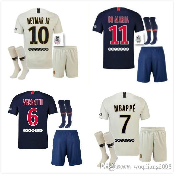 f11dc9912 new 2018 2019 adult kit+socks Paris MBAPPE soccer Jerseys 18 19 psG mbappe  VERRATTI CAVANI DI MARIA PASTORE MAILLOT DE FOOT FOOTBALL SHIRT