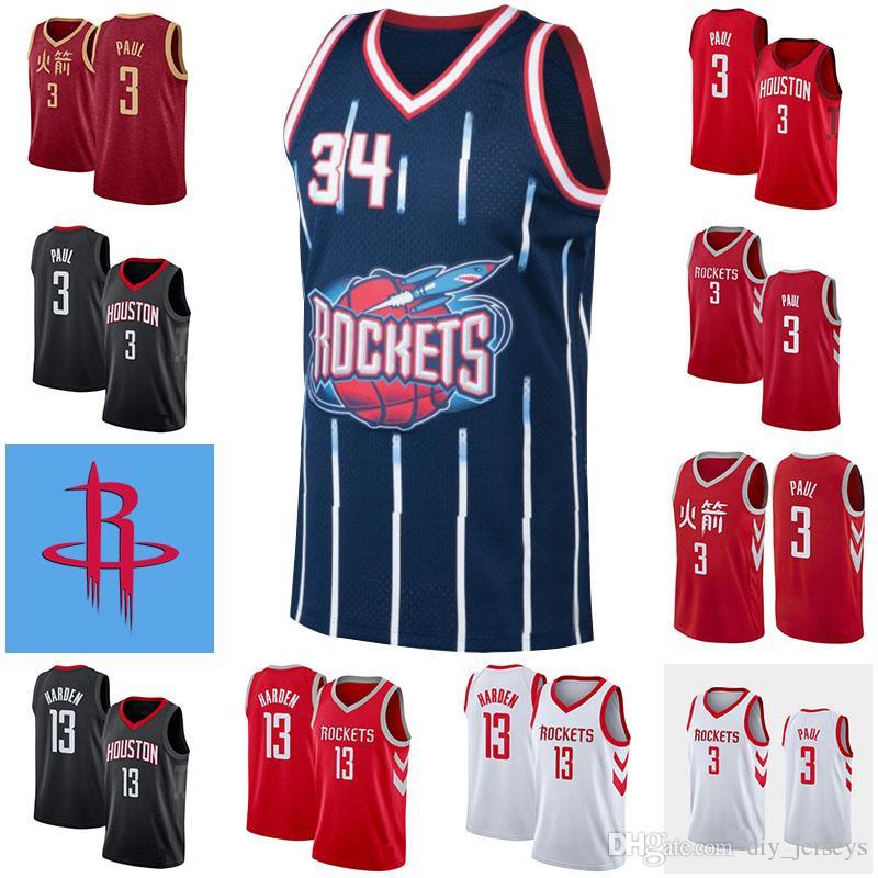 save off 3e23a c1654 New Houston Mens Rockets Basketball Jerseys 13 James Harden 3 Chris Paul 34  Hakeem Olajuwon White Black Red Cool Quick Dry Jersey