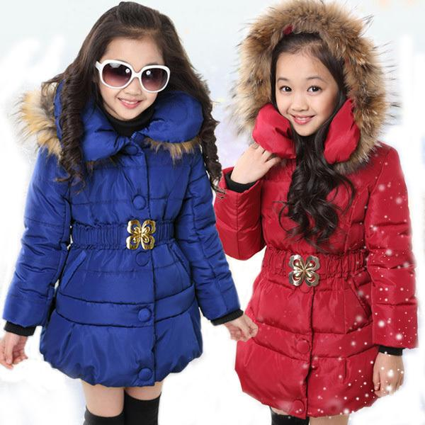 5-14 Years Winter Jacket For Girls Fashion Children Hooded Down Cotton Girls Parka Kids Winter Outerwear Coat Girls Warm Clothes