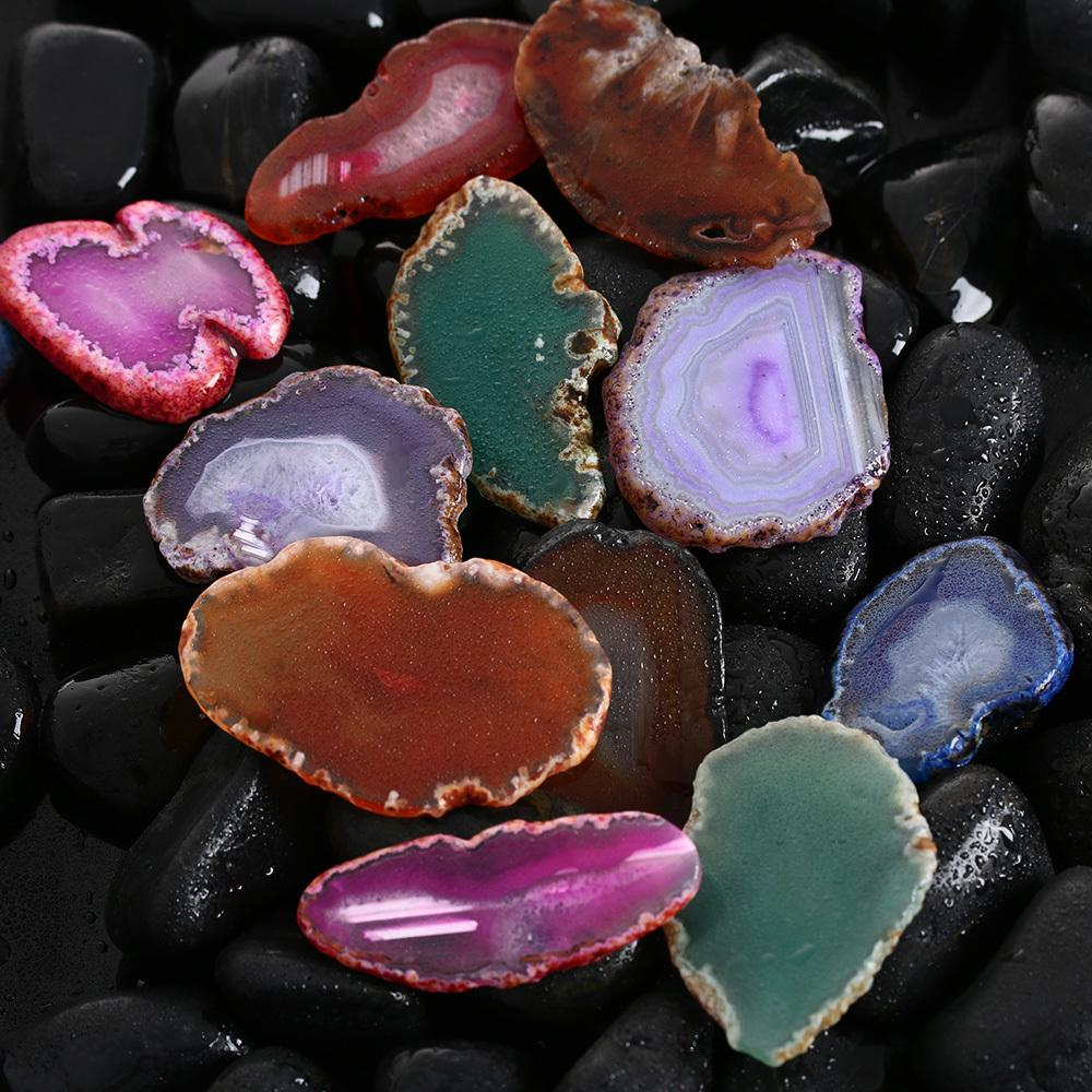 Random Color!!!agate Geode Polished Irregular Crystal Slice Brazil Healing Reiki Stone Natural Quartz Pendant Mineral Home Decor C19041101