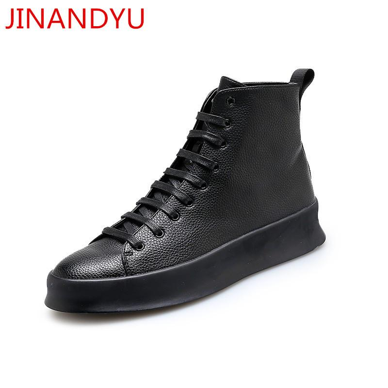 New Black Mens Casual Shoes Genuine Leather High Top Shoes men Lace Up Ankle Boots for Men Fashion Footwear White
