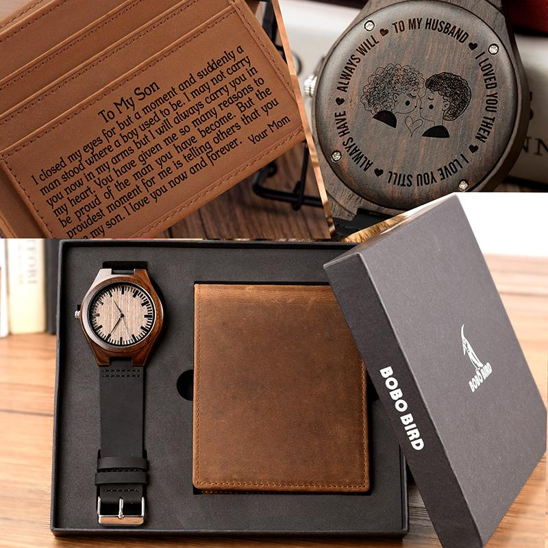 025fa33f8ac BOBO BIRD Men Watch Wallet Set Family Gifts Personalized Watches Special  Present Gift to Man Husband Boyfriend Free Engraving