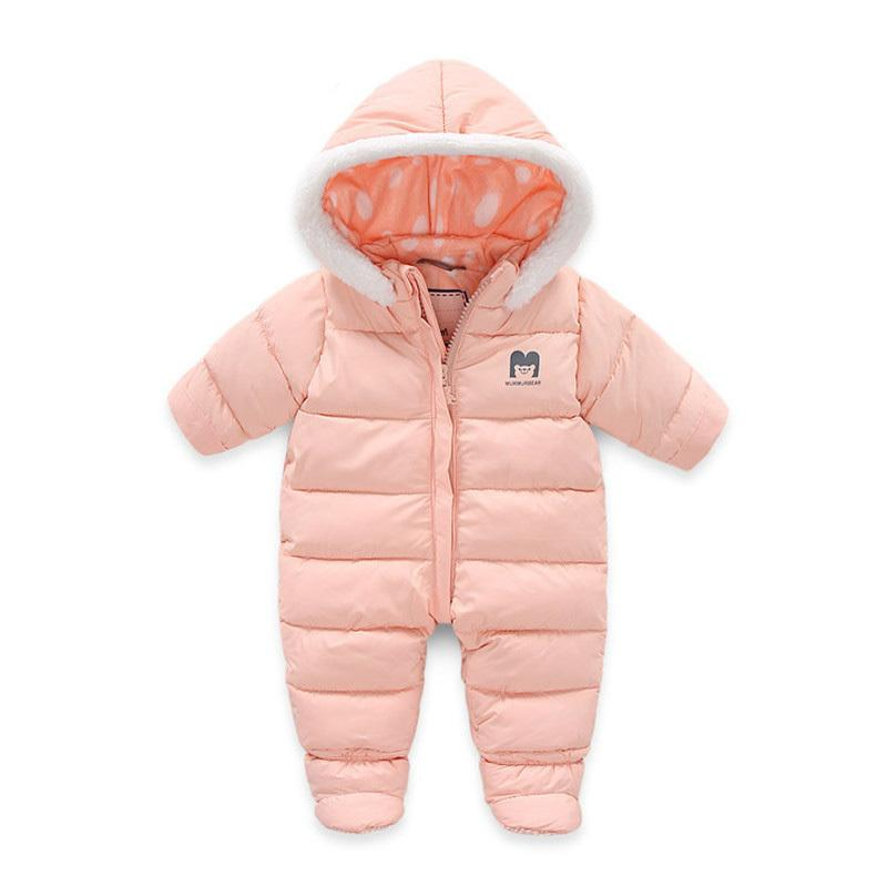 9fe2cfbc5 2019 Winter Jumpsuit For Babies Newborn Baby Girls Boys Rompers Warm ...