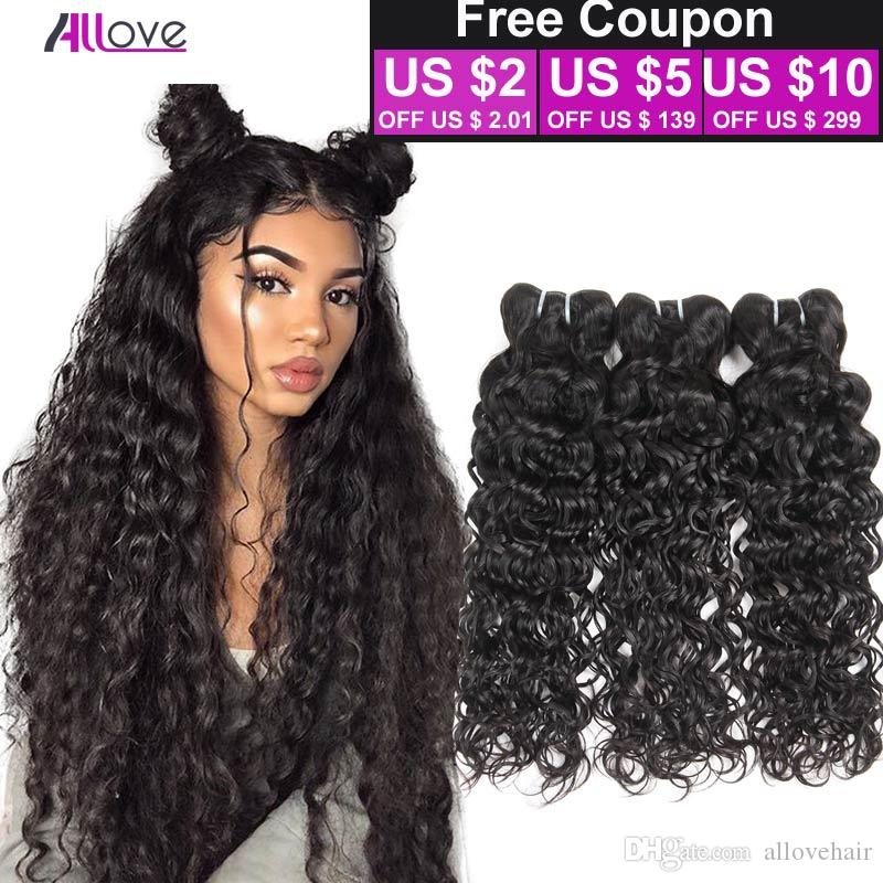 Brazilian Virgin Hair Water Wave 3 Bundles Wet And Wavy Virgin Brazilian Human Hair Weave Brazillian Peruvian Curly Weave Hair Extensions