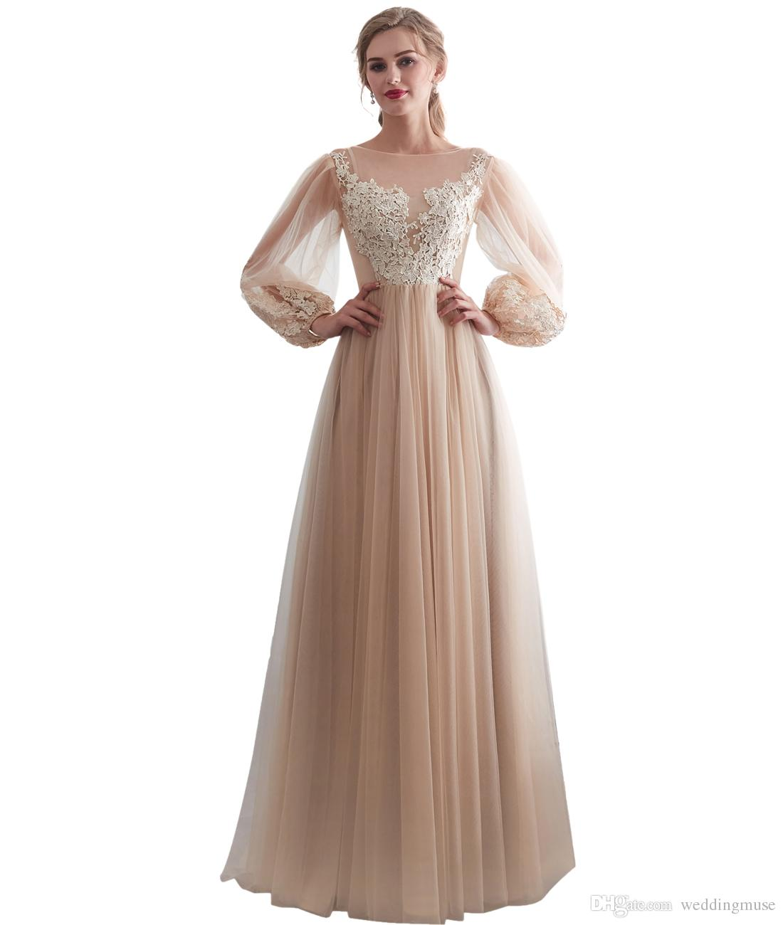 Affordable Wedding Dress Designers: Discount Bohemian Wedding Dress 2019 Champagne A Line