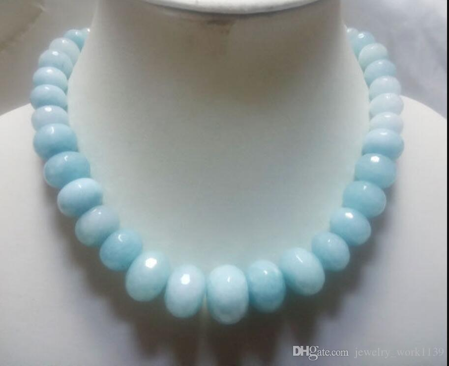 "necklac 10-18mm Graduated faceted sky color jade beads strand necklace gp clasp 18"" 5.27"