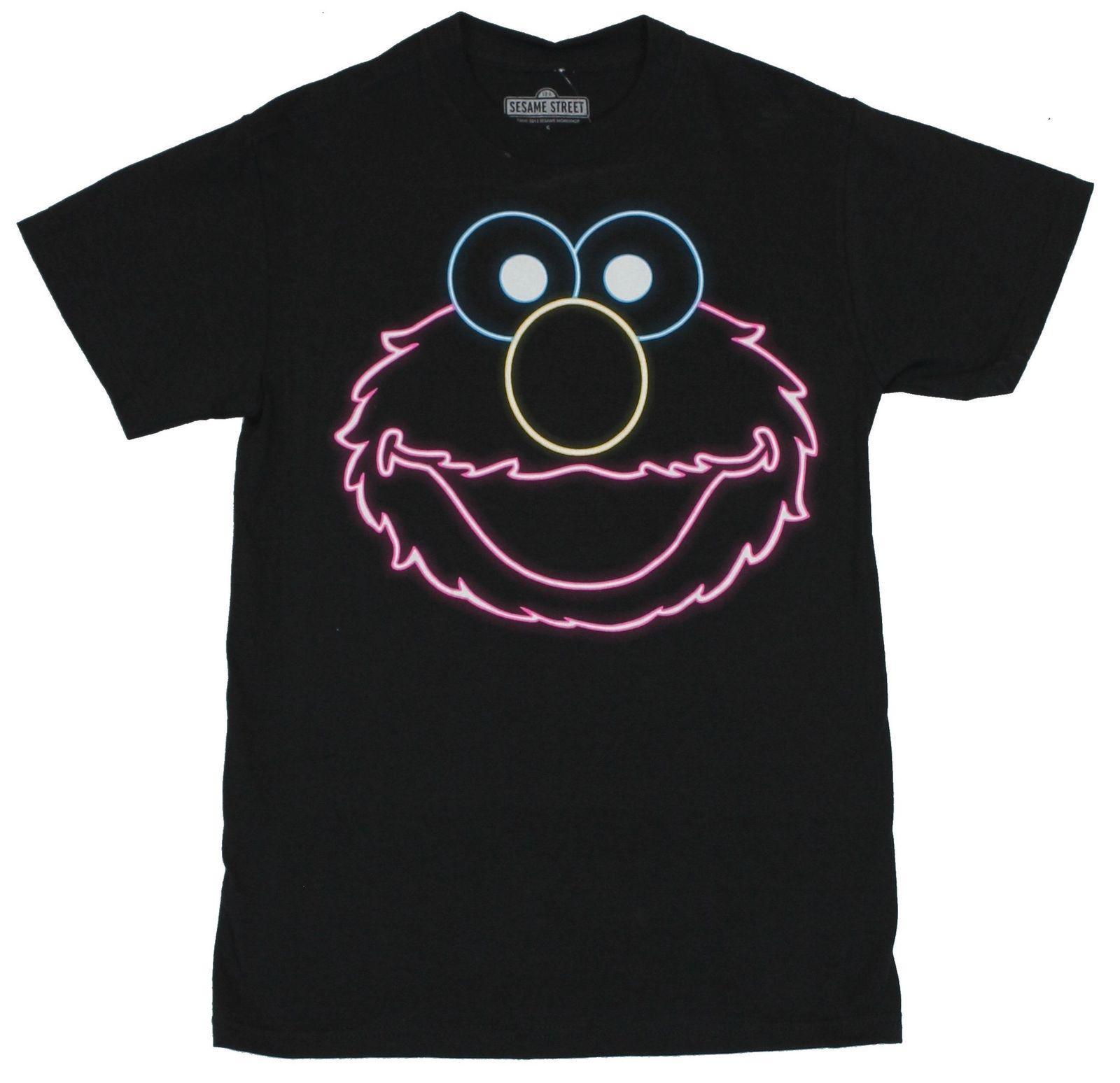 470a88826 Sesame Street Mens T Shirt Elmo Neon Face On Black Men Women Unisex ...