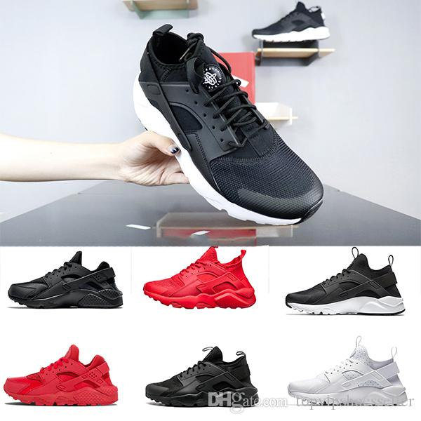 e54baf954134 2019 ACE Huarache IV 4.0 Men Running Shoes Triple Black White Red Fashion Huaraches  Luxury Mens Trainers Women Sports Sneaker 36 45 Running Spikes Track ...
