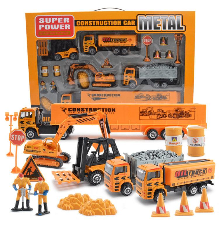 A set of Alloy Engineering Vehicles Model Toy metal excavator Sliding Vehicle construction cars model + engineer figure kids toy